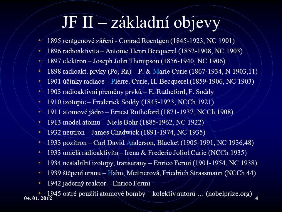 JF II – základní objevy 1895 rentgenové záření - Conrad Roentgen (1845-1923, NC 1901)