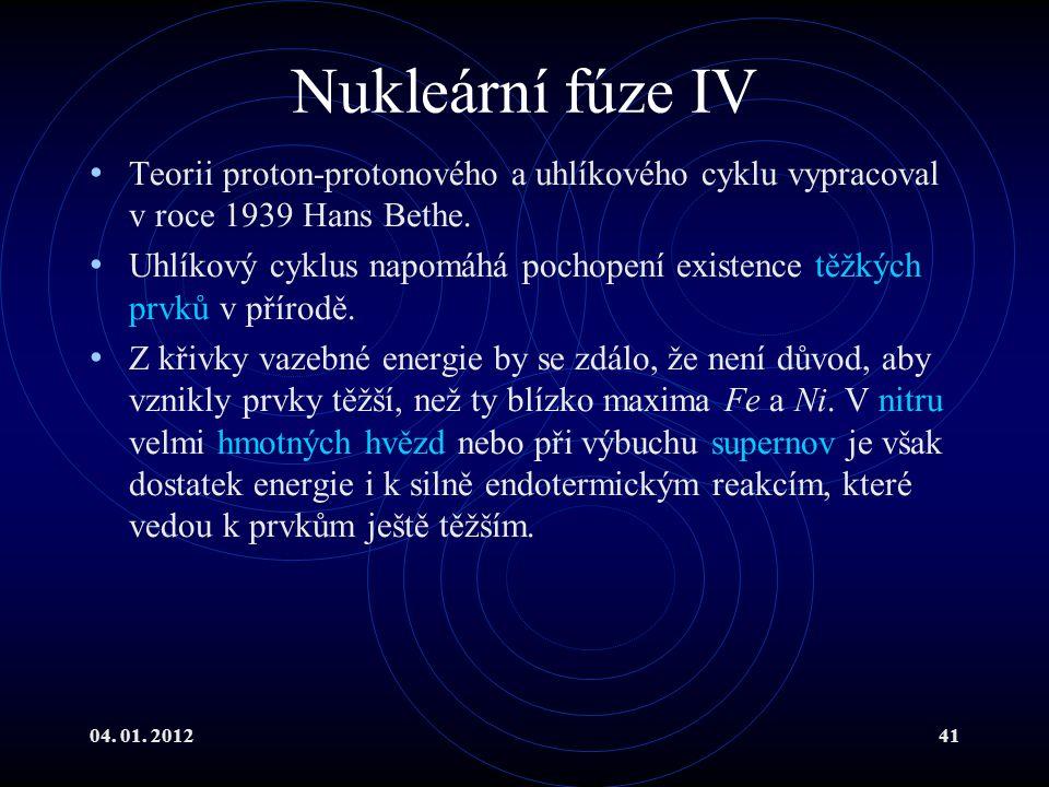 Nukleární fúze IV Teorii proton-protonového a uhlíkového cyklu vypracoval v roce 1939 Hans Bethe.