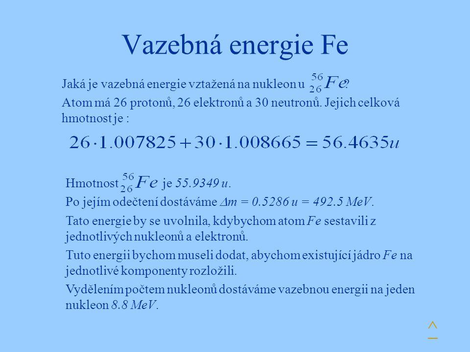 Vazebná energie Fe ^ Jaká je vazebná energie vztažená na nukleon u