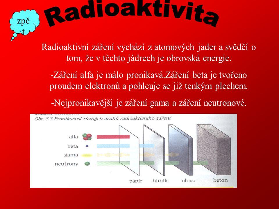 -Nejpronikavější je záření gama a záření neutronové.