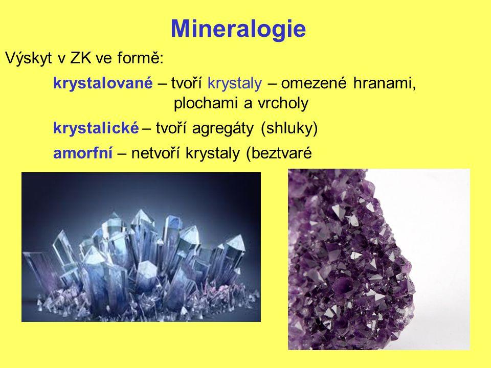 Mineralogie Výskyt v ZK ve formě: