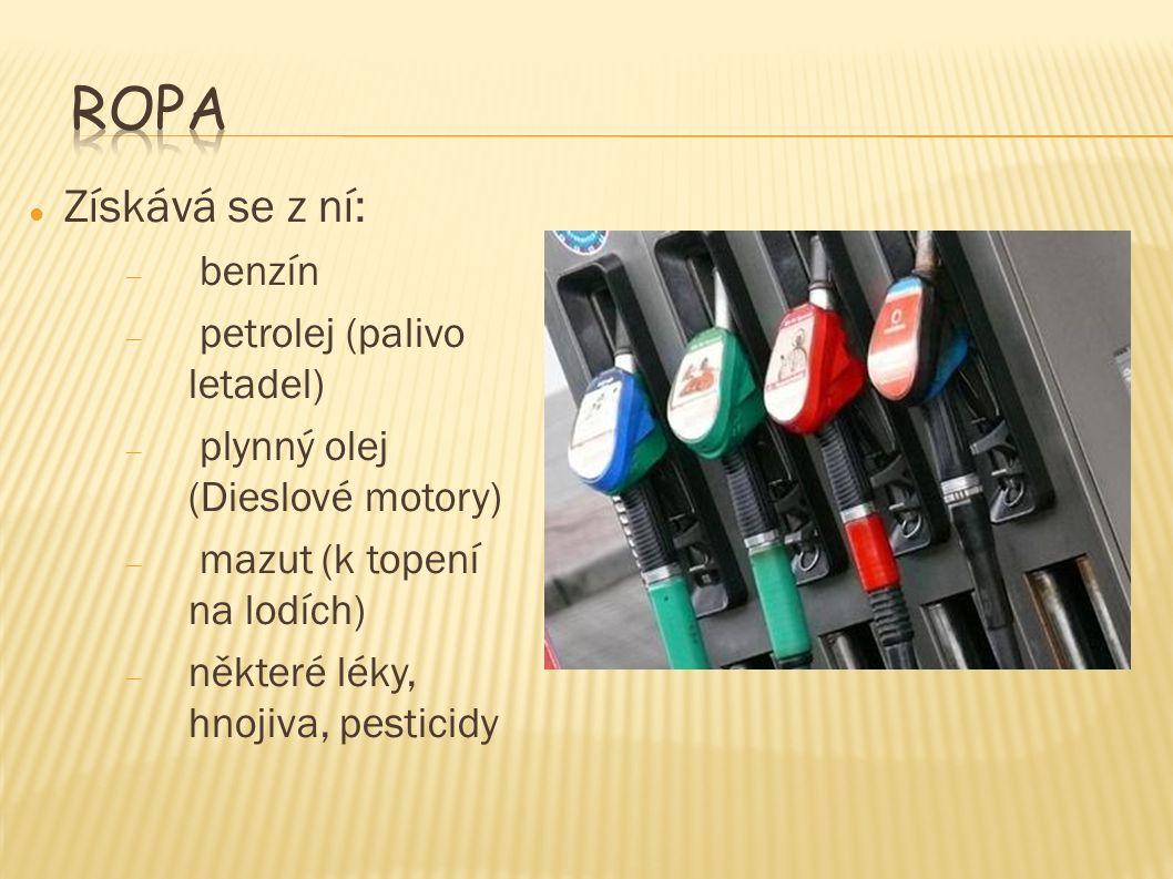 Ropa Získává se z ní: benzín petrolej (palivo letadel)