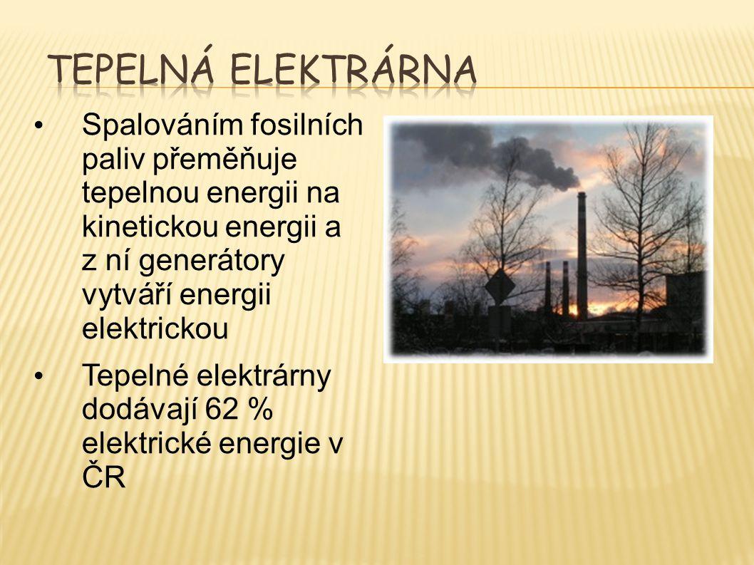 Tepelná elektrárna Spalováním fosilních paliv přeměňuje tepelnou energii na kinetickou energii a z ní generátory vytváří energii elektrickou.