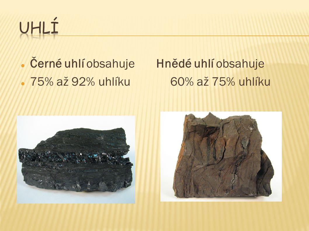 Uhlí Černé uhlí obsahuje Hnědé uhlí obsahuje