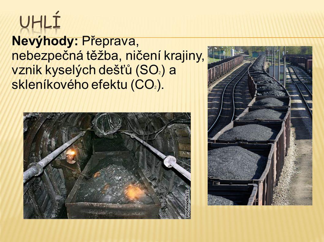 Uhlí Nevýhody: Přeprava, nebezpečná těžba, ničení krajiny, vznik kyselých dešťů (SO2) a skleníkového efektu (CO2).