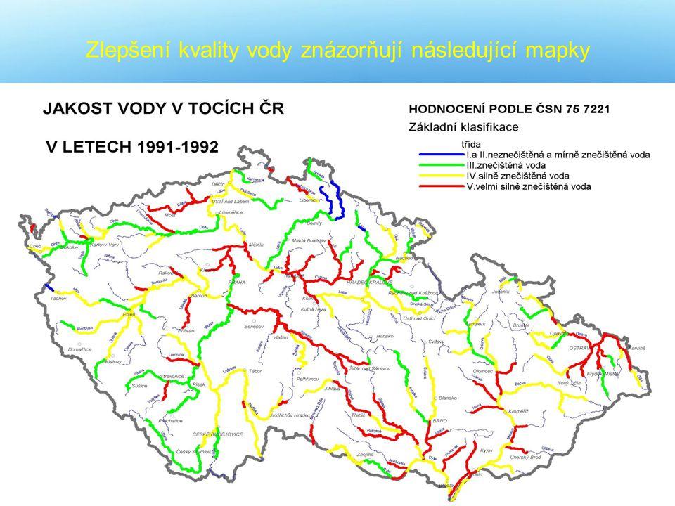 Zlepšení kvality vody znázorňují následující mapky