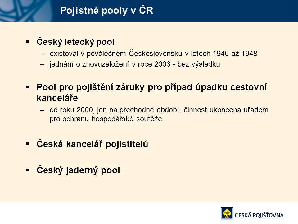 Pojistné pooly v ČR Český letecký pool. existoval v poválečném Československu v letech 1946 až 1948.