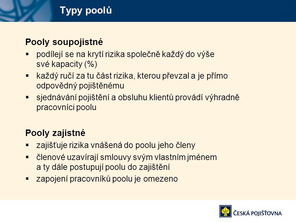 Typy poolů Pooly soupojistné Pooly zajistné
