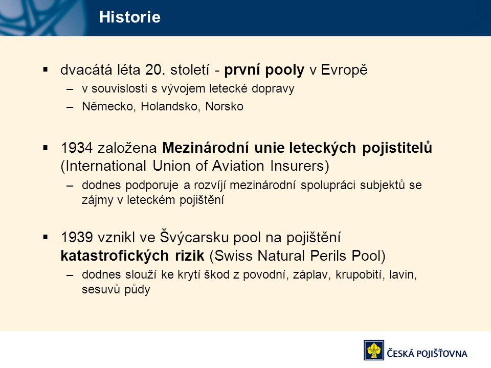Historie dvacátá léta 20. století - první pooly v Evropě
