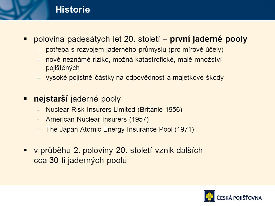 Historie polovina padesátých let 20. století – první jaderné pooly