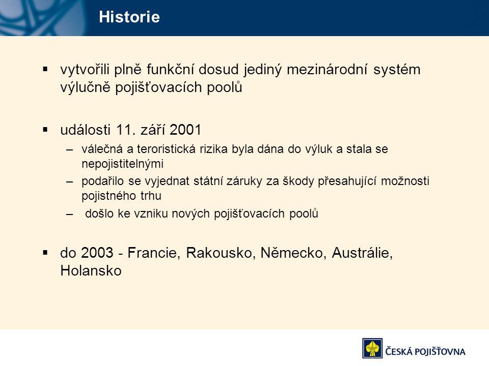 Historie vytvořili plně funkční dosud jediný mezinárodní systém výlučně pojišťovacích poolů. události 11. září 2001.