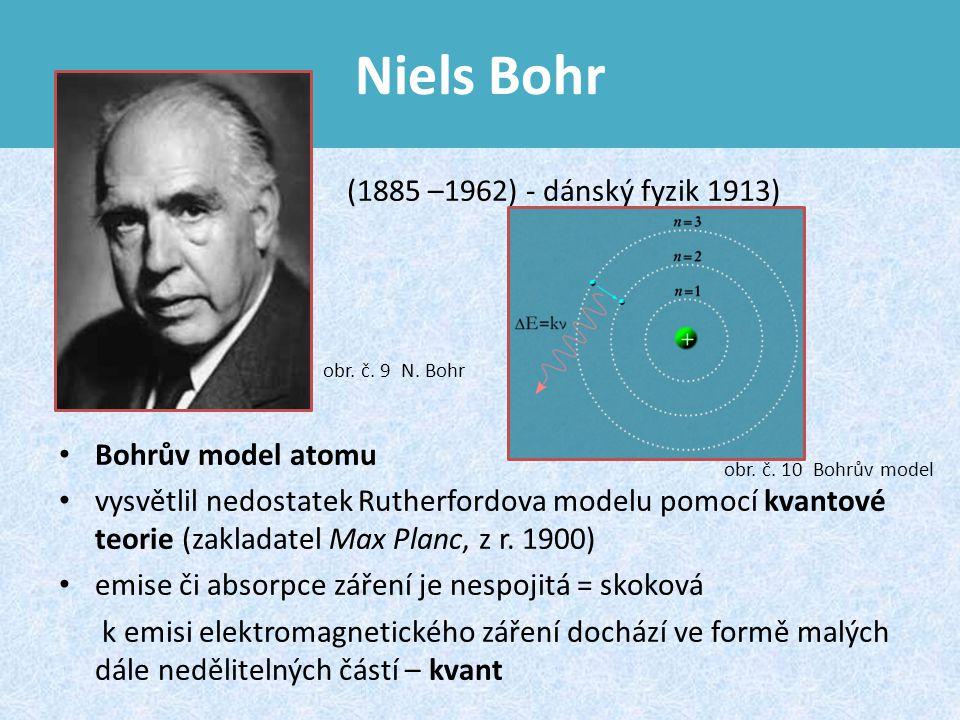 Niels Bohr (1885 –1962) - dánský fyzik 1913) Bohrův model atomu