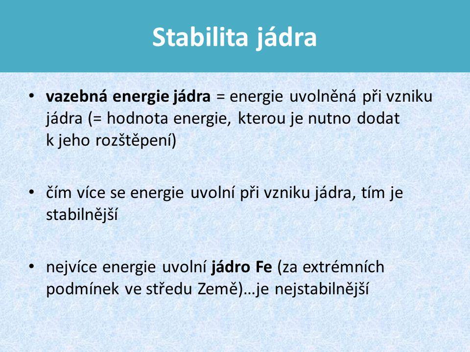 Stabilita jádra vazebná energie jádra = energie uvolněná při vzniku jádra (= hodnota energie, kterou je nutno dodat k jeho rozštěpení)