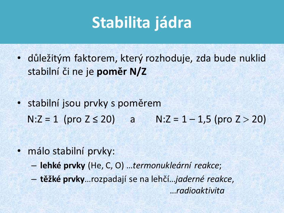 Stabilita jádra důležitým faktorem, který rozhoduje, zda bude nuklid stabilní či ne je poměr N/Z. stabilní jsou prvky s poměrem.