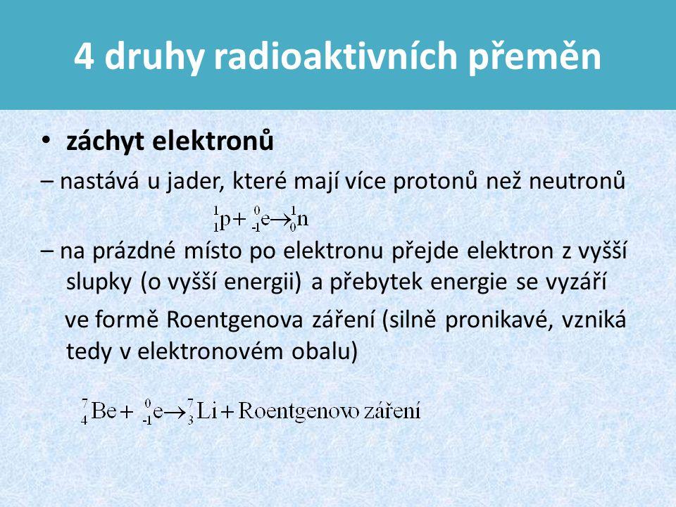 4 druhy radioaktivních přeměn