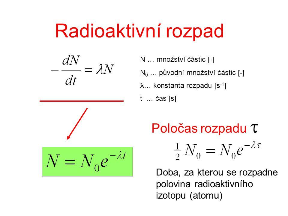 Radioaktivní rozpad Poločas rozpadu t