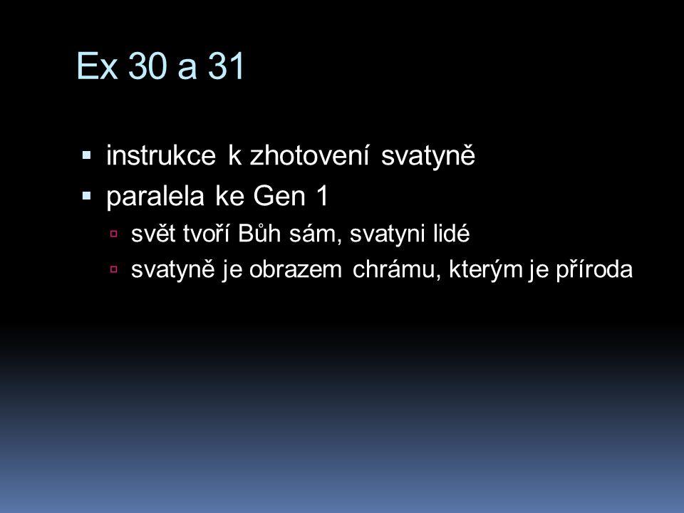 Ex 30 a 31 instrukce k zhotovení svatyně paralela ke Gen 1
