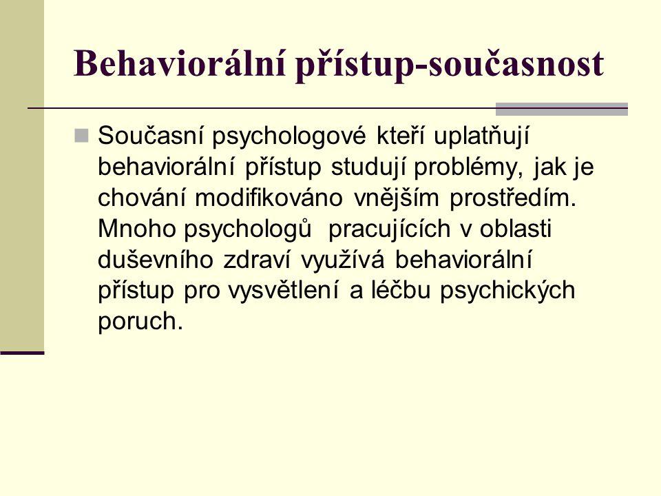 Behaviorální přístup-současnost