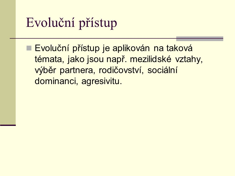 Evoluční přístup