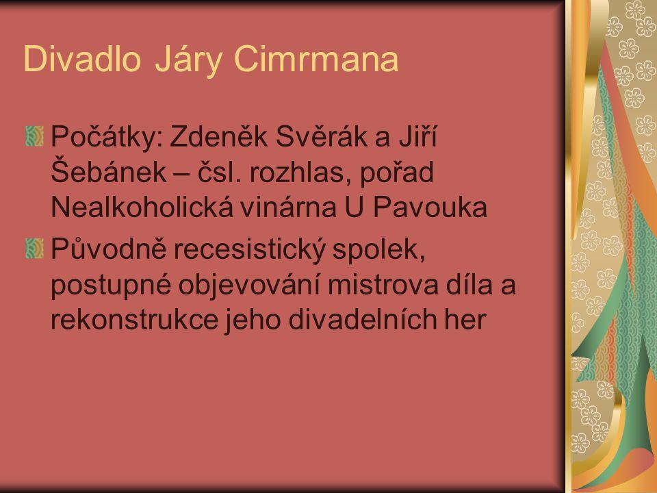 Divadlo Járy Cimrmana Počátky: Zdeněk Svěrák a Jiří Šebánek – čsl. rozhlas, pořad Nealkoholická vinárna U Pavouka.
