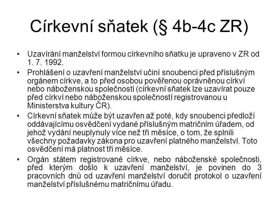 Církevní sňatek (§ 4b-4c ZR)