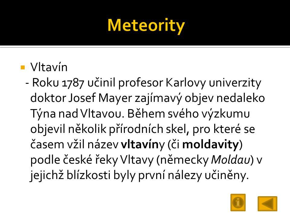 Meteority Vltavín.