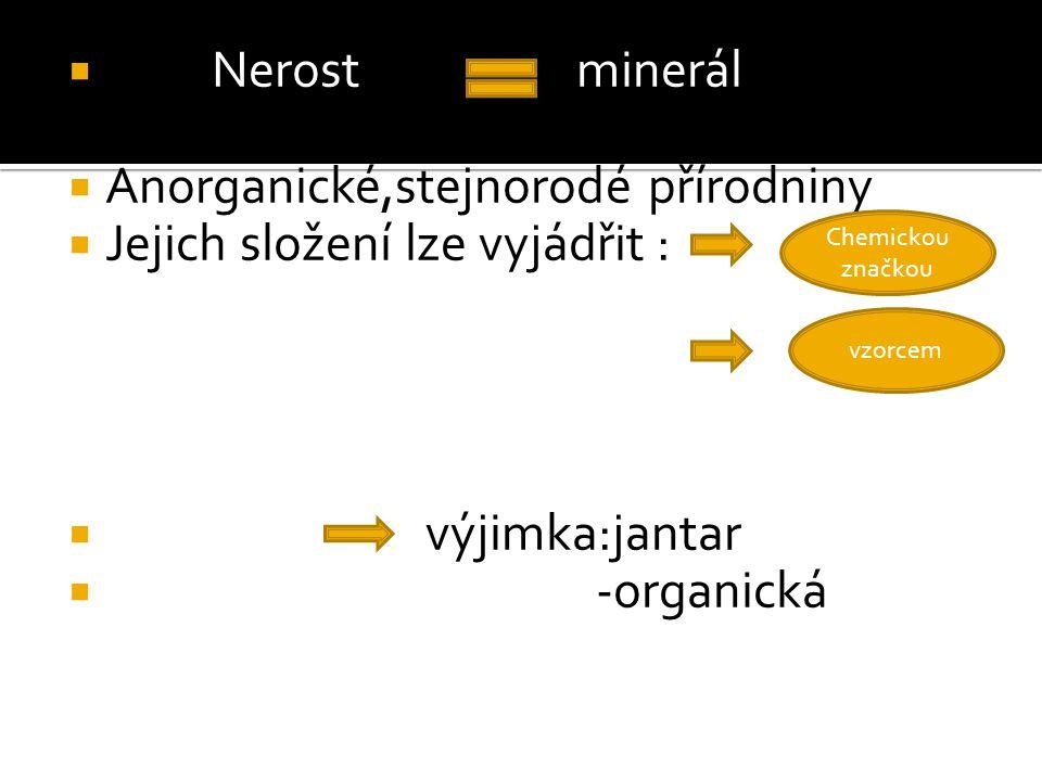 Anorganické,stejnorodé přírodniny Jejich složení lze vyjádřit :
