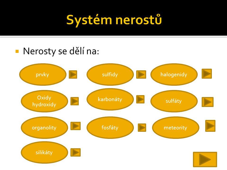 Systém nerostů Nerosty se dělí na: prvky sulfidy halogenidy karbonáty
