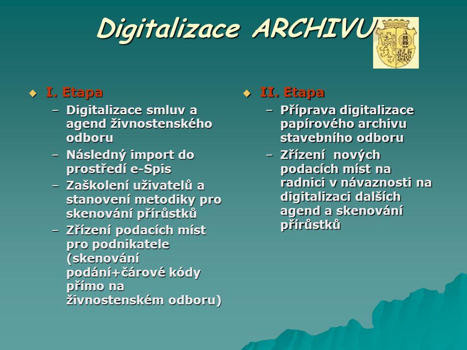 Digitalizace ARCHIVU I. Etapa II. Etapa