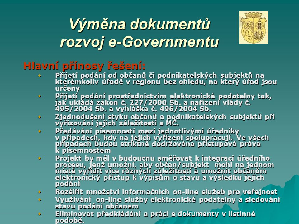 Výměna dokumentů rozvoj e-Governmentu