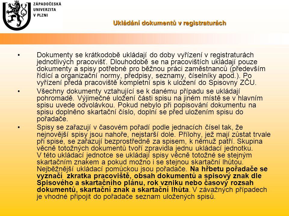 Ukládání dokumentů v registraturách