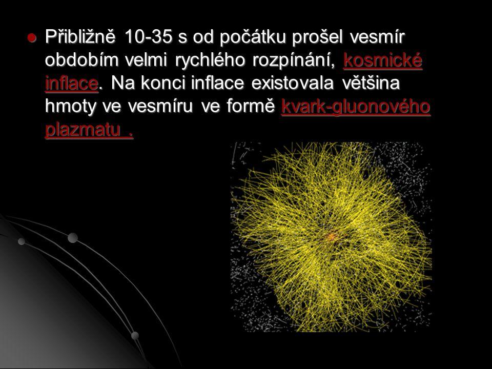 Přibližně 10-35 s od počátku prošel vesmír obdobím velmi rychlého rozpínání, kosmické inflace.