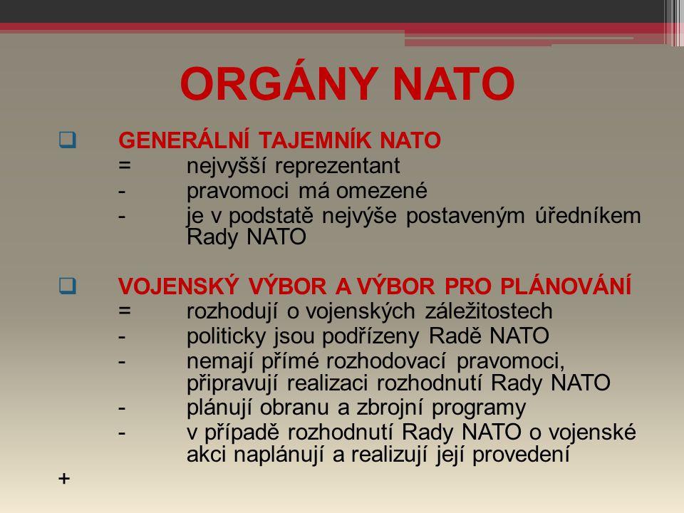 ORGÁNY NATO GENERÁLNÍ TAJEMNÍK NATO = nejvyšší reprezentant