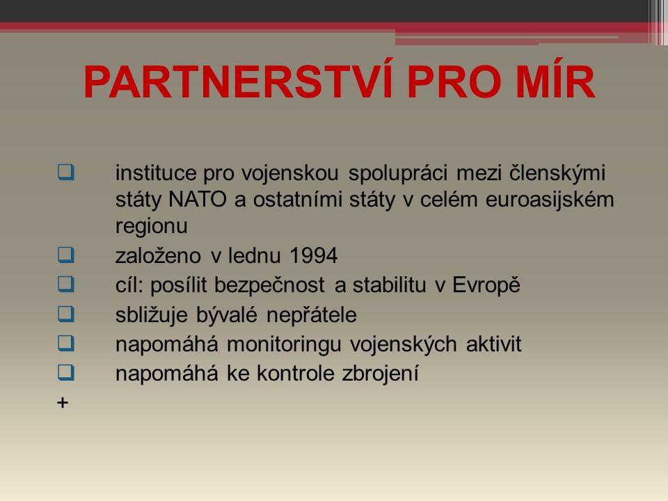 PARTNERSTVÍ PRO MÍR instituce pro vojenskou spolupráci mezi členskými státy NATO a ostatními státy v celém euroasijském regionu.