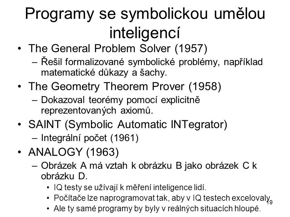 Programy se symbolickou umělou inteligencí