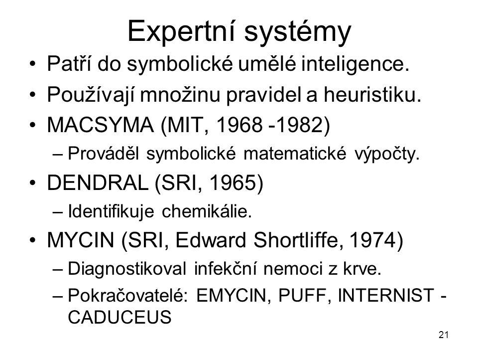 Expertní systémy Patří do symbolické umělé inteligence.