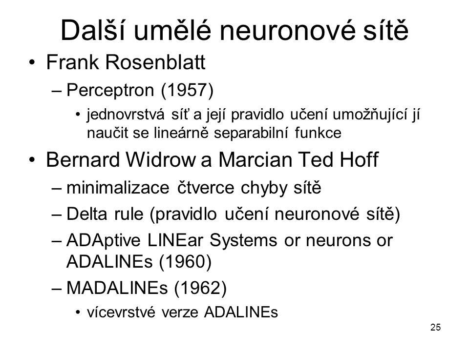 Další umělé neuronové sítě