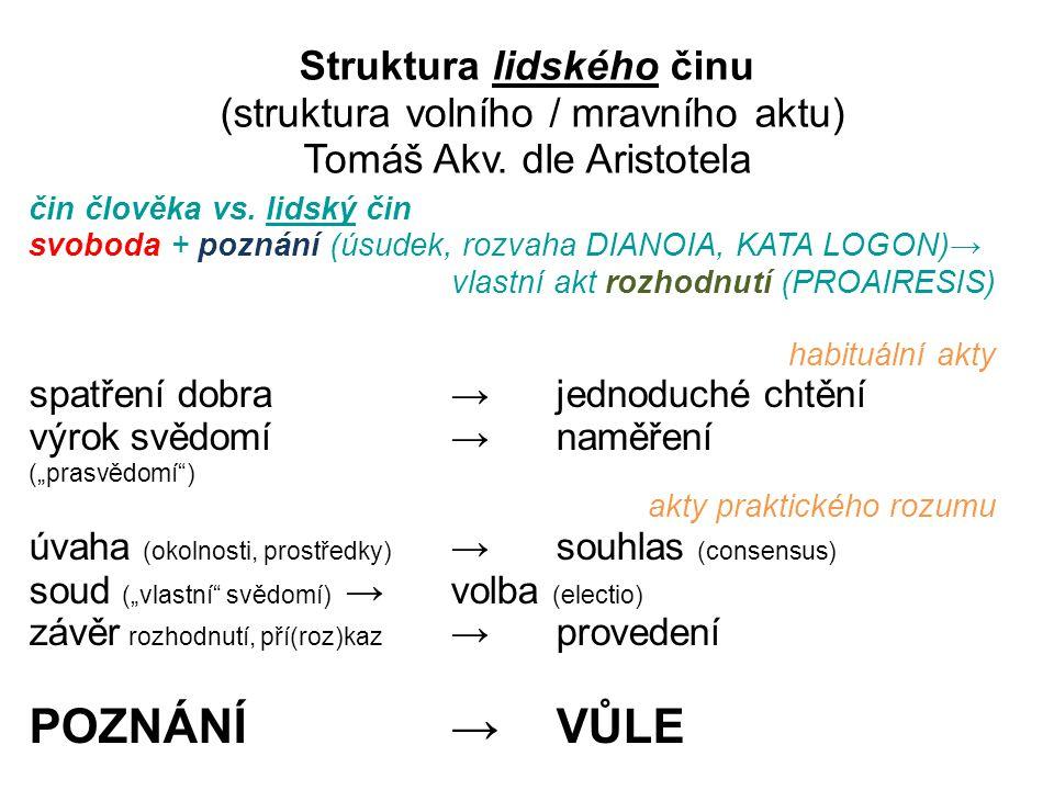 Struktura lidského činu (struktura volního / mravního aktu) Tomáš Akv