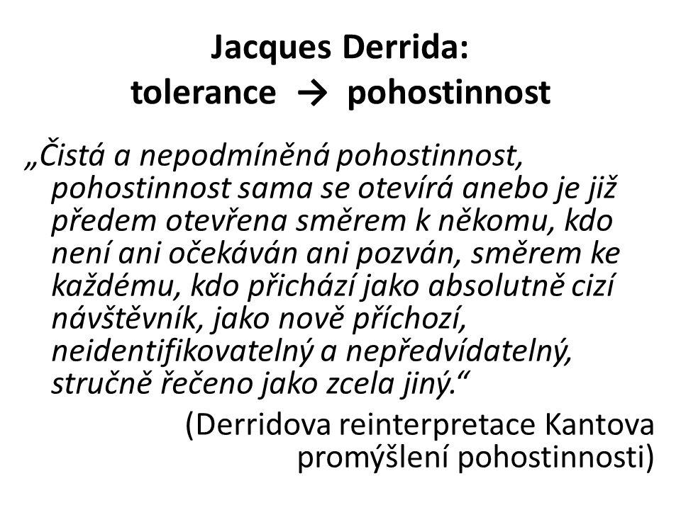 Jacques Derrida: tolerance → pohostinnost