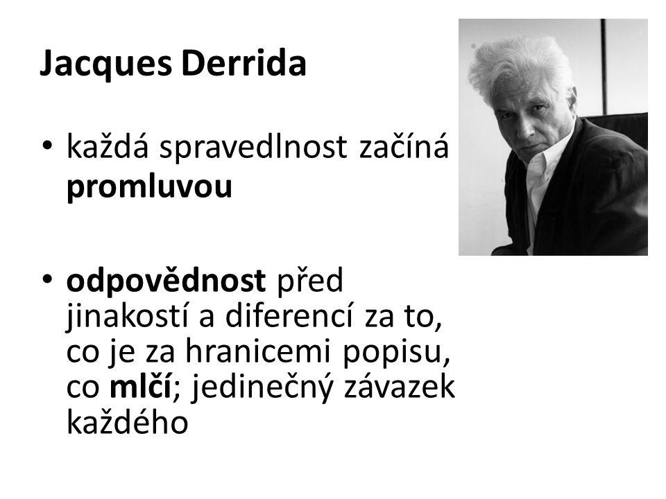 Jacques Derrida každá spravedlnost začíná promluvou