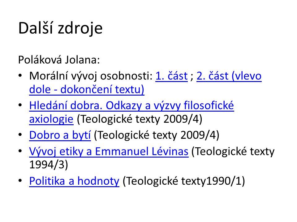 Další zdroje Poláková Jolana: