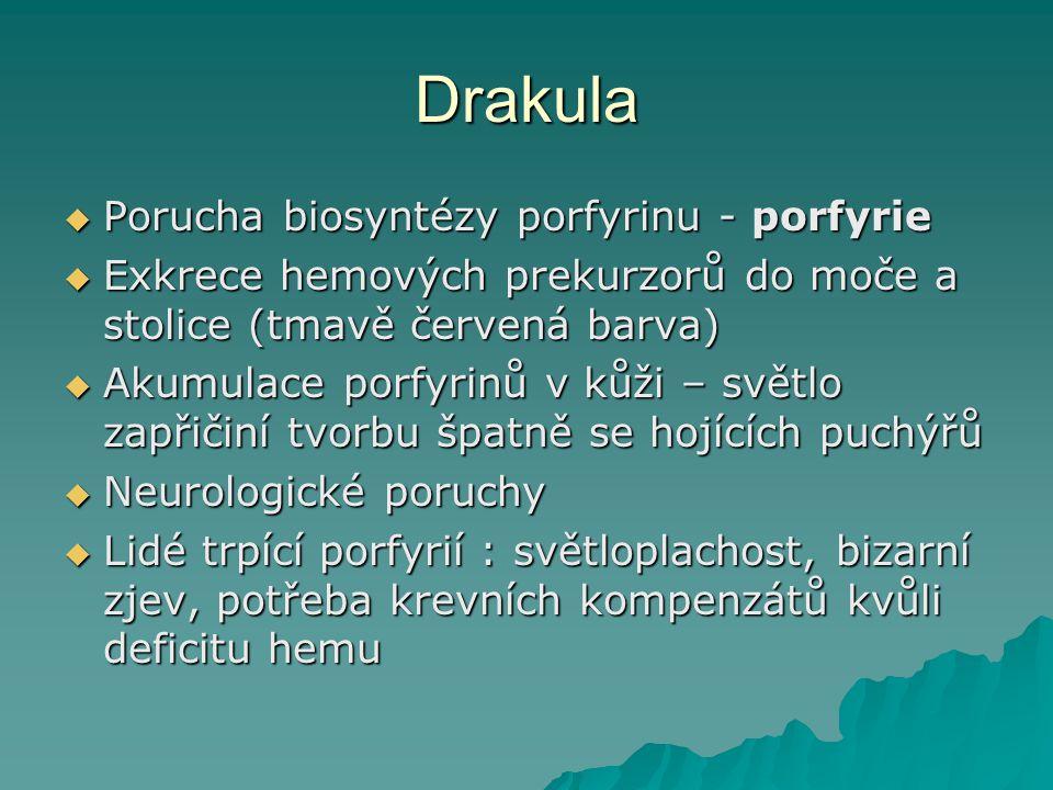 Drakula Porucha biosyntézy porfyrinu - porfyrie
