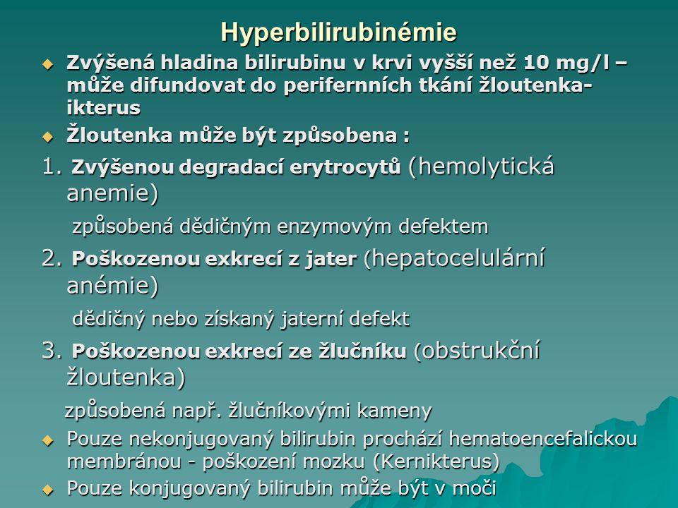 Hyperbilirubinémie Zvýšená hladina bilirubinu v krvi vyšší než 10 mg/l –může difundovat do perifernních tkání žloutenka-ikterus.