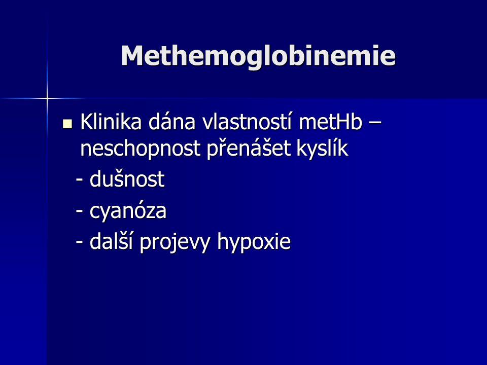 Methemoglobinemie Klinika dána vlastností metHb – neschopnost přenášet kyslík. - dušnost. - cyanóza.