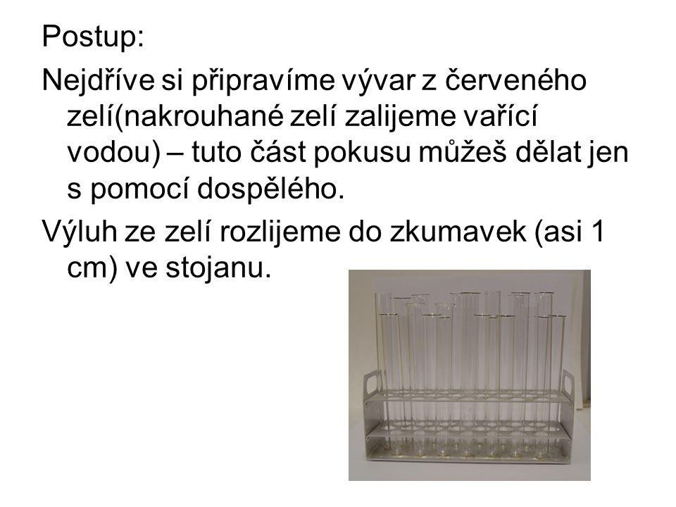 Postup: Nejdříve si připravíme vývar z červeného zelí(nakrouhané zelí zalijeme vařící vodou) – tuto část pokusu můžeš dělat jen s pomocí dospělého.