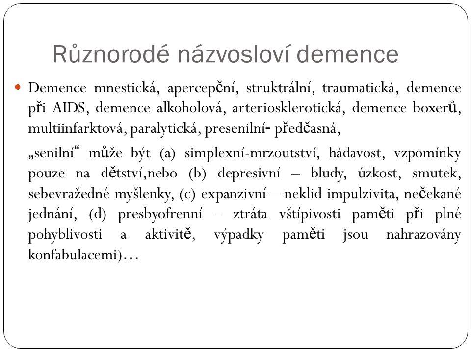 Různorodé názvosloví demence