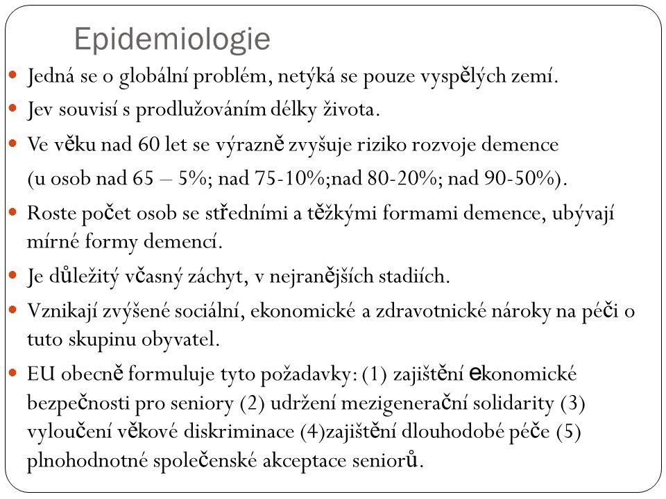 Epidemiologie Jedná se o globální problém, netýká se pouze vyspělých zemí. Jev souvisí s prodlužováním délky života.