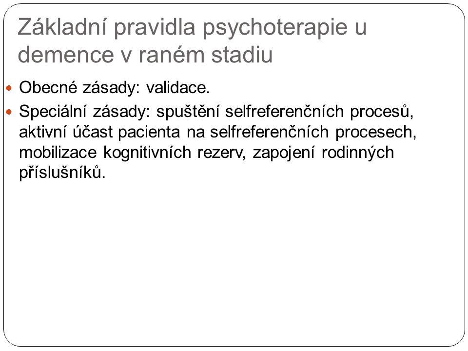 Základní pravidla psychoterapie u demence v raném stadiu
