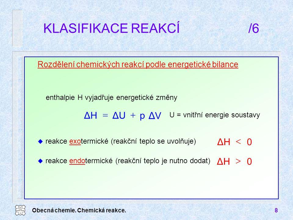 KLASIFIKACE REAKCÍ /6 ΔV p ΔU ΔH + = ΔH < ΔH >