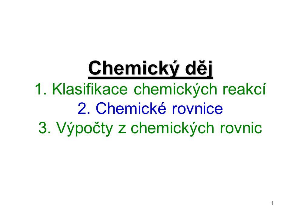 Chemický děj 1. Klasifikace chemických reakcí 2. Chemické rovnice 3